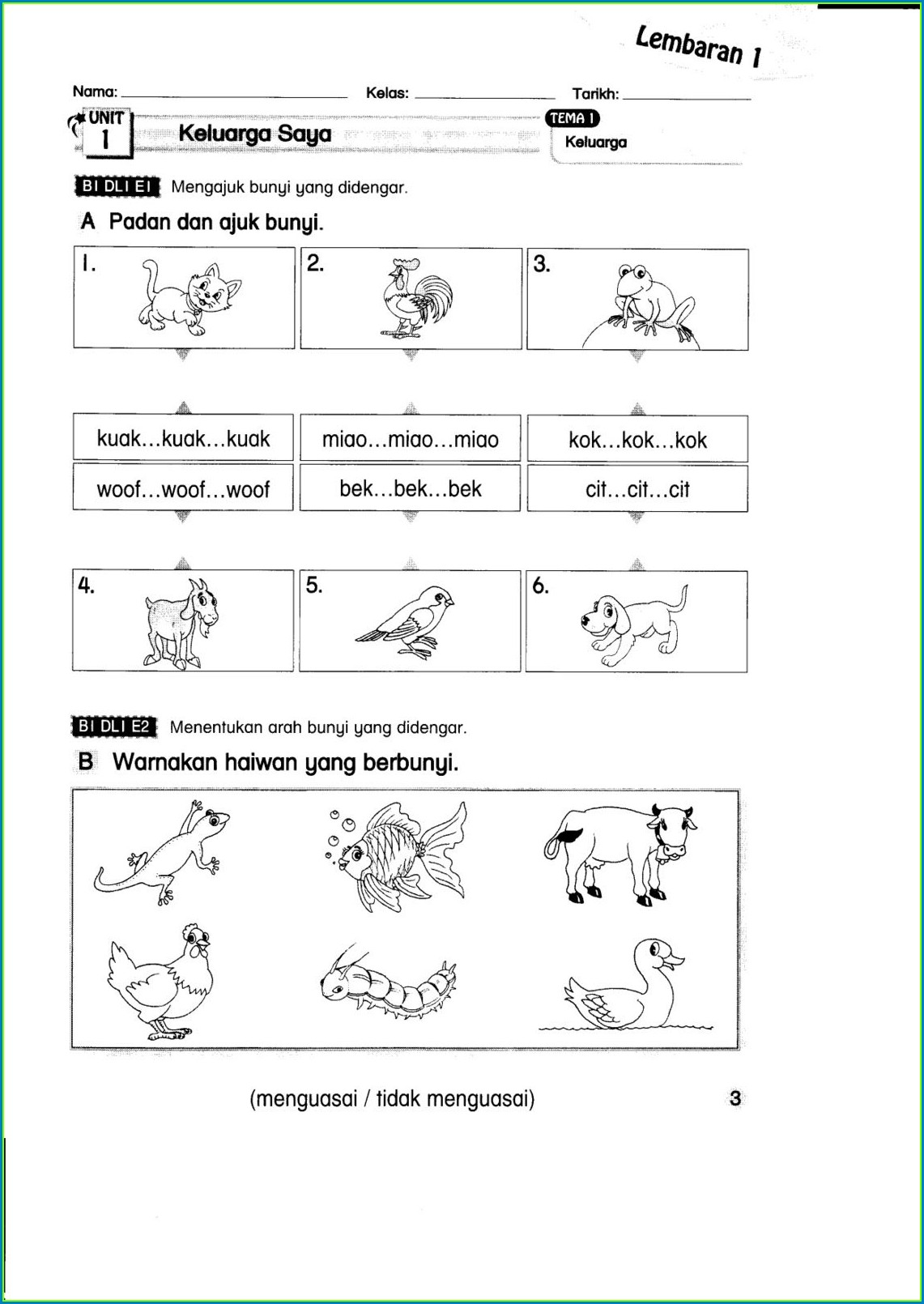 Worksheet English Year 3 Kssr