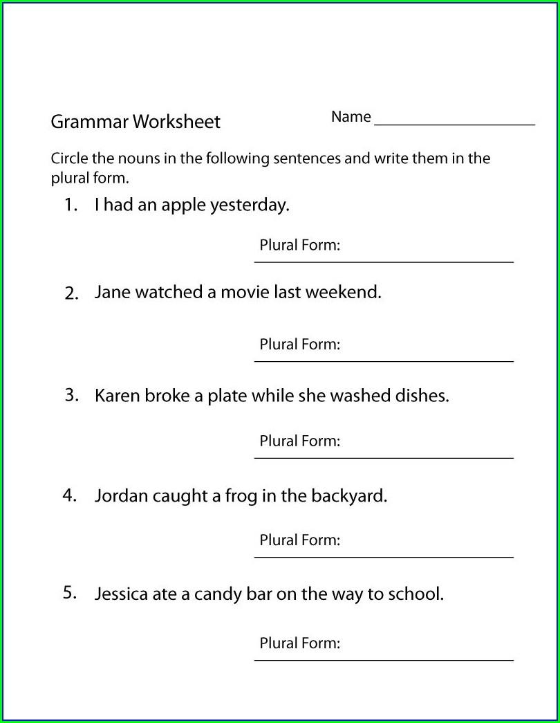 Worksheet For 4th Grade English Grammar