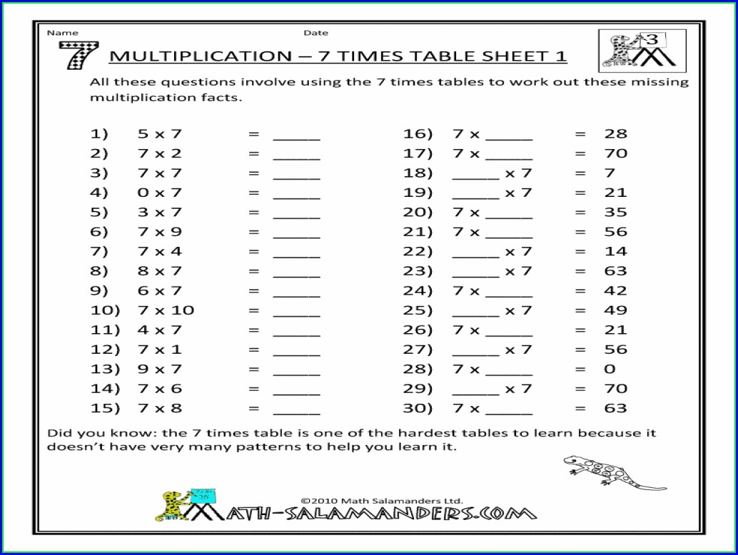 Worksheet For 7 Times Table