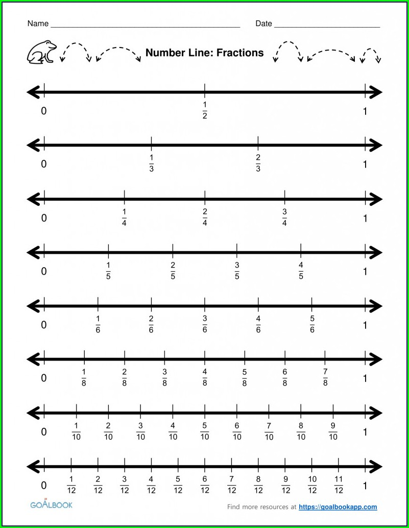 Worksheet For Fractions On A Number Line