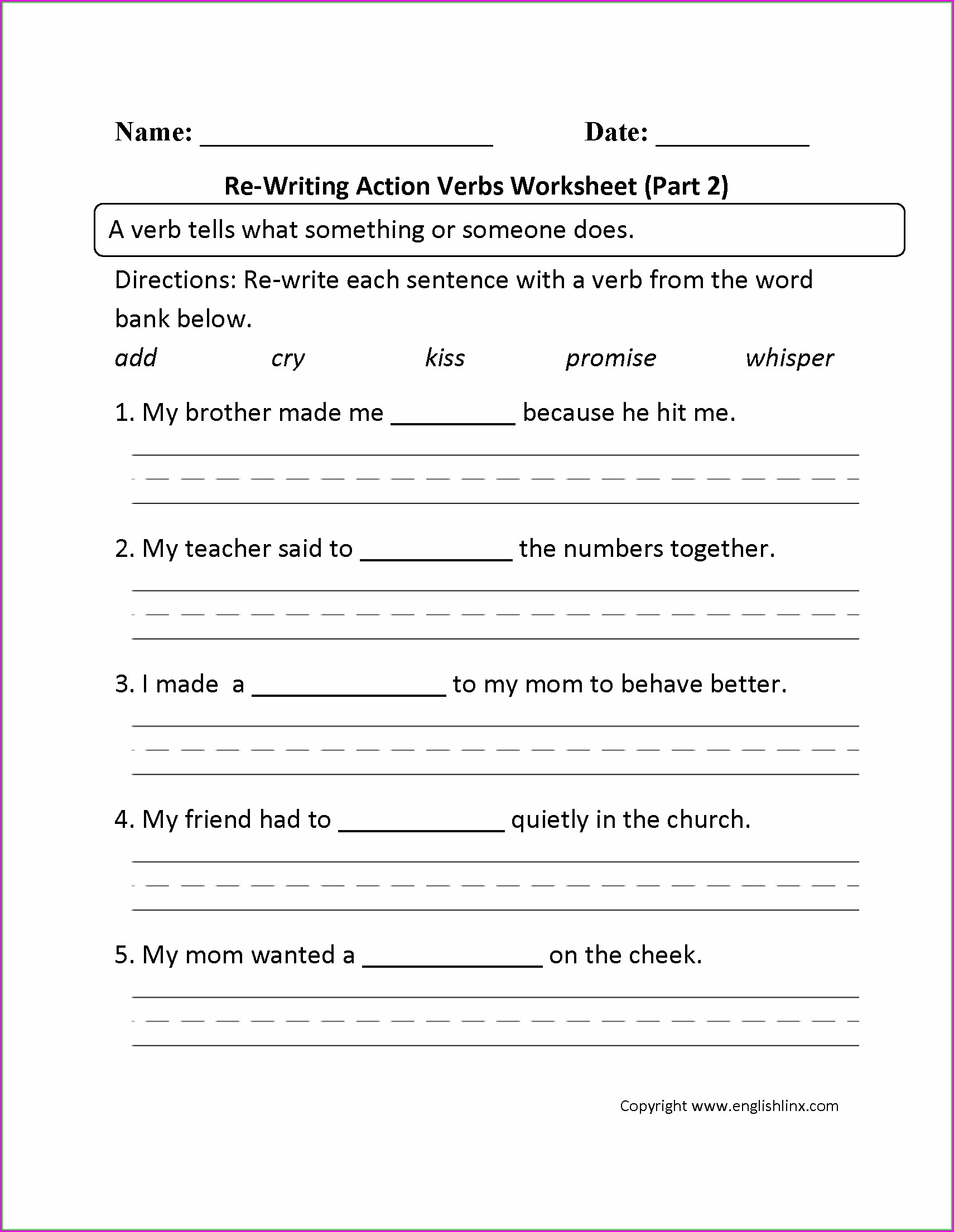 Worksheet For Grade 2 English Verbs