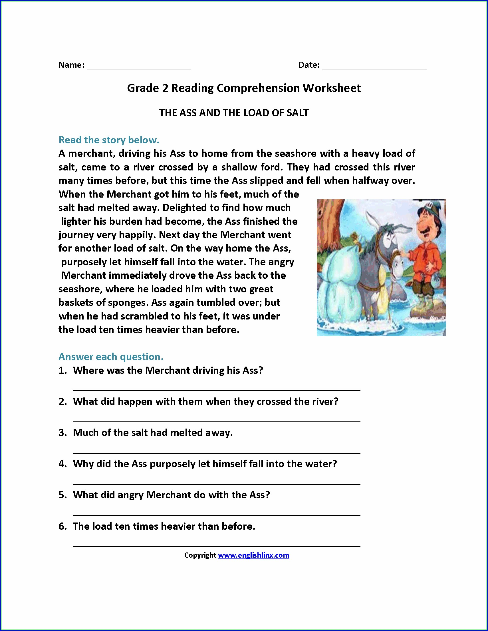 Worksheet For Second Grade Reading