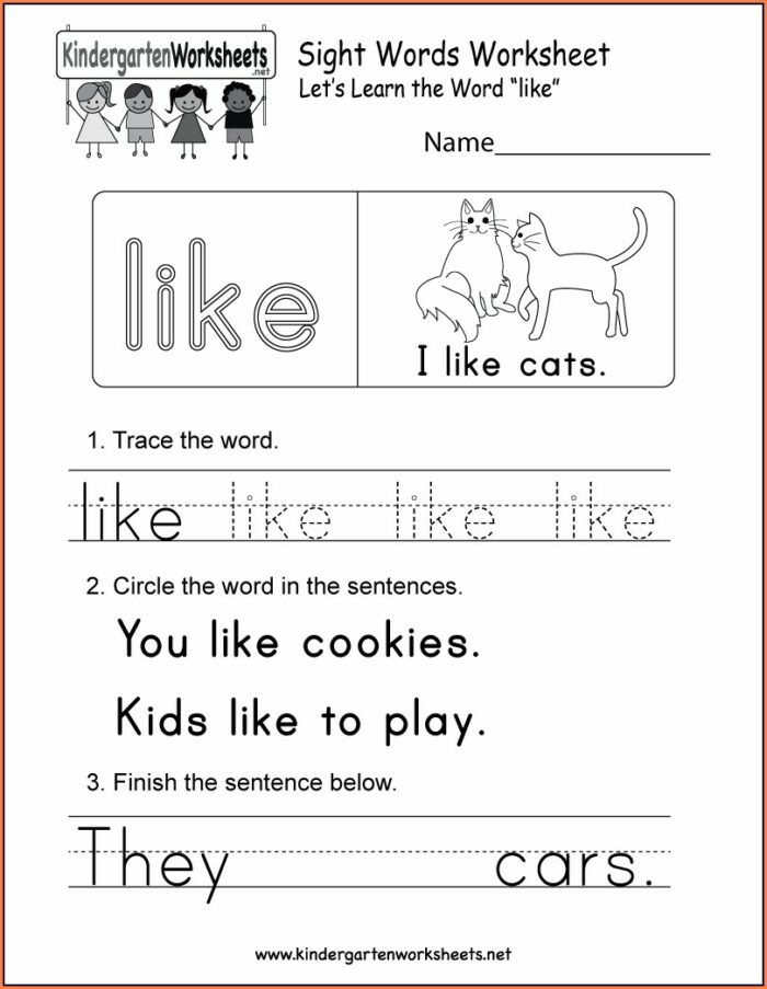 Worksheet For Sight Word For