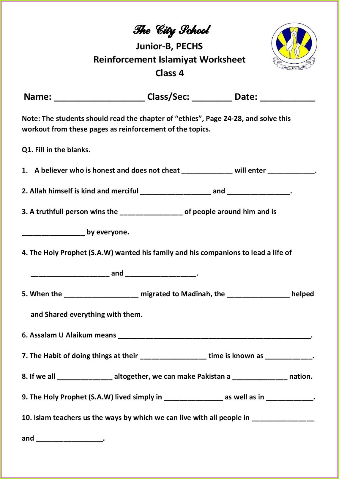 Worksheet In English For Grade 5