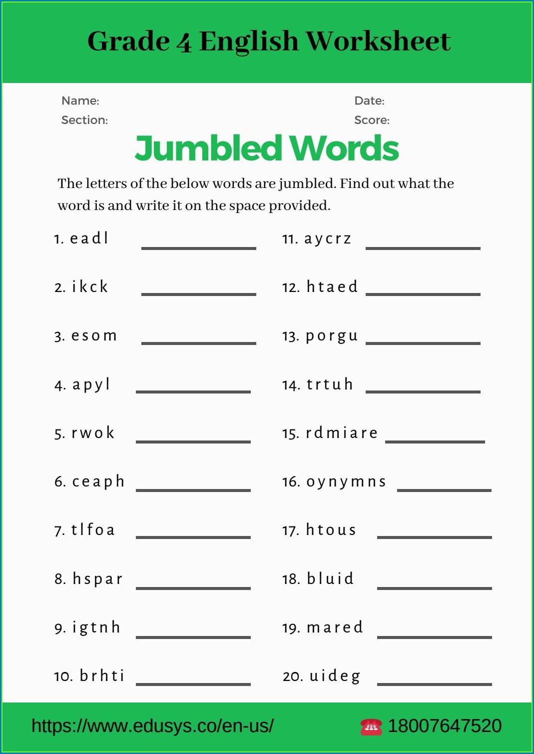 Worksheet In English Grade 4