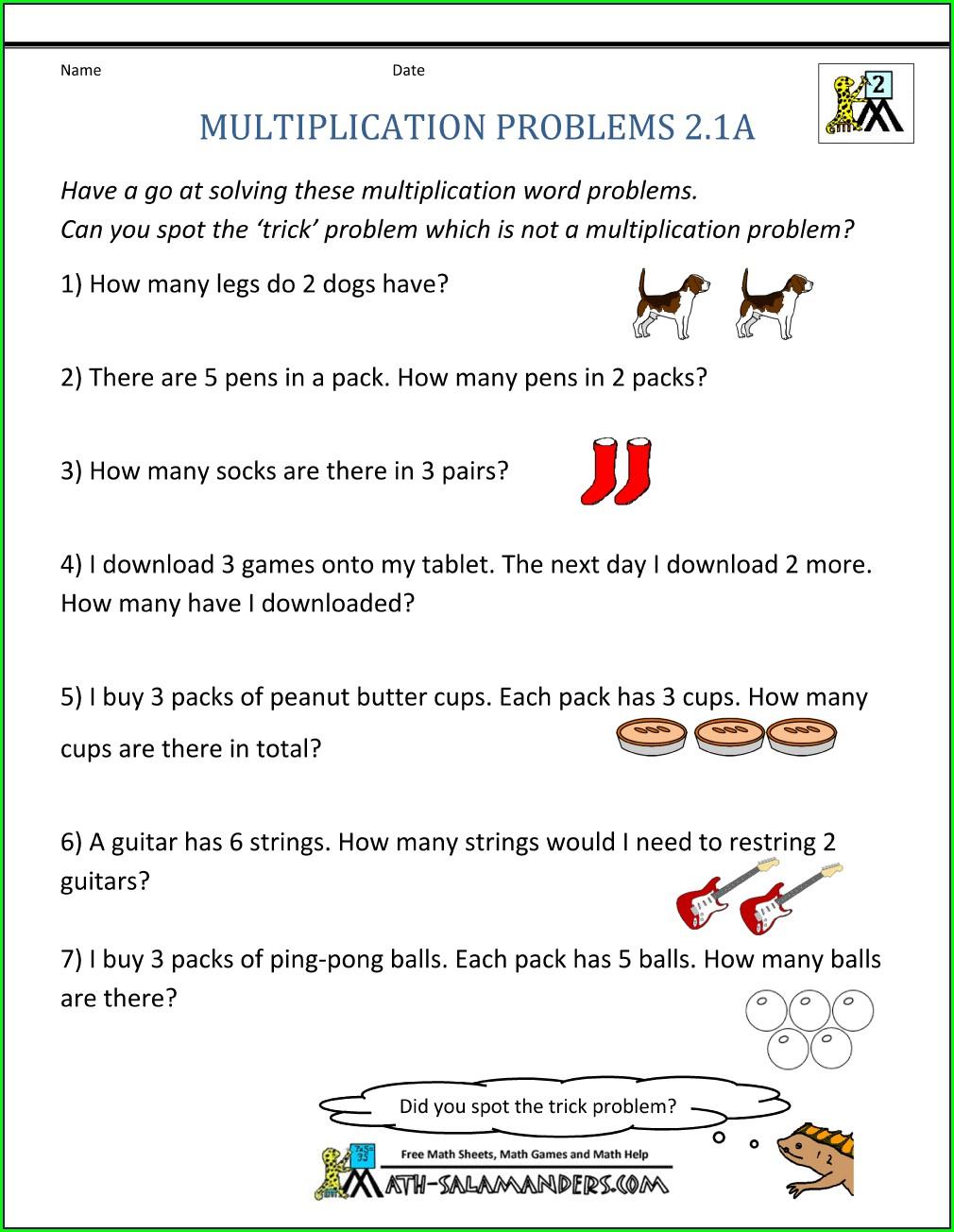 Worksheet Multiplication Word Problems Grade 1