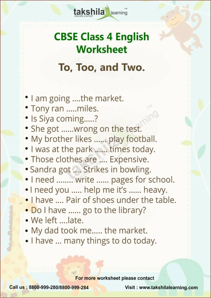 Worksheet Of English For Class 4