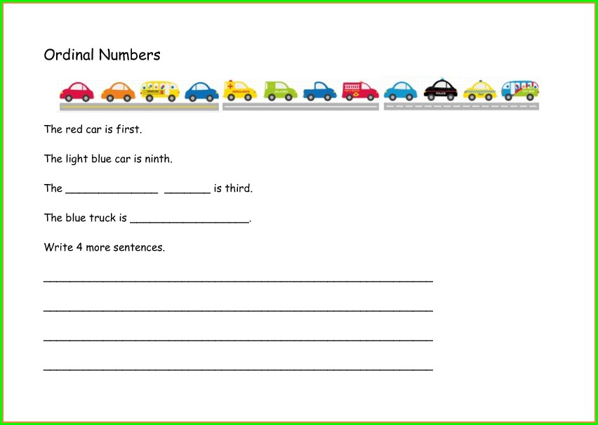 Worksheet Of Ordinal Numbers For Grade 1