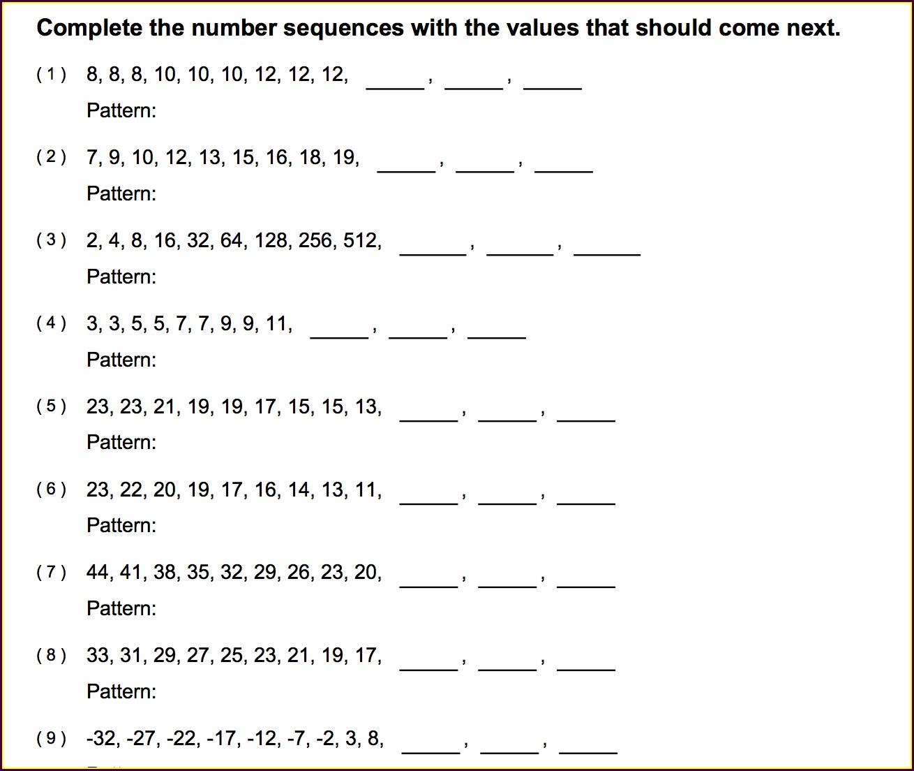 Worksheet On Number Patterns For Grade 5