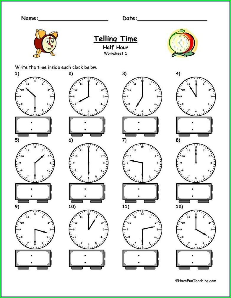Worksheet On Telling Time For Kindergarten