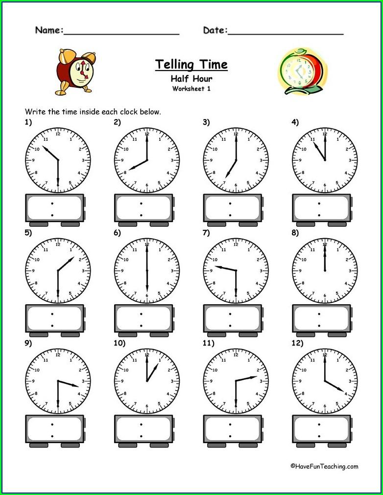 Worksheet On Telling Time For Kindergarten