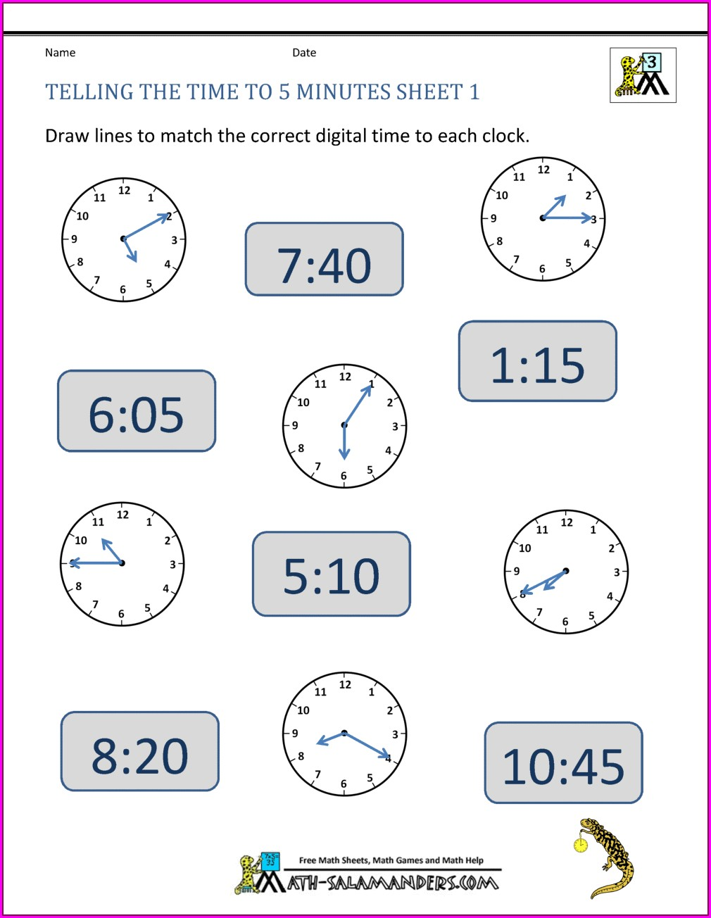 Worksheet On Time Difference