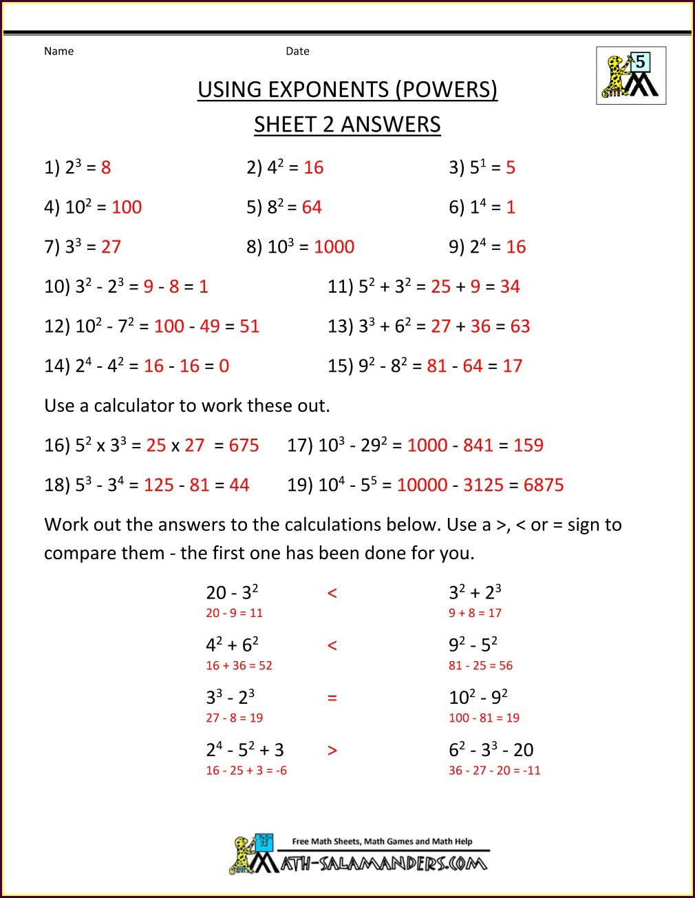 Worksheet Order Of Operations With Integers