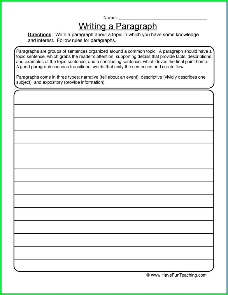 Writing A Paragraph Worksheet 4th Grade