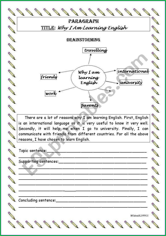 Writing A Paragraph Worksheet
