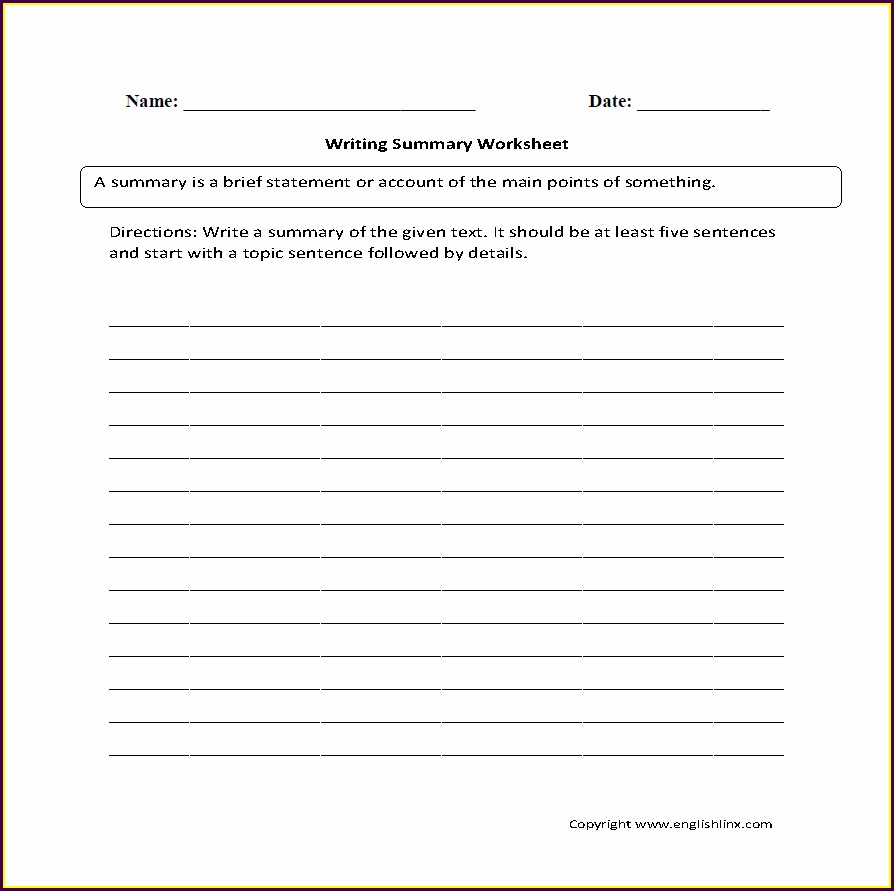 Writing A Summary Worksheet Pdf