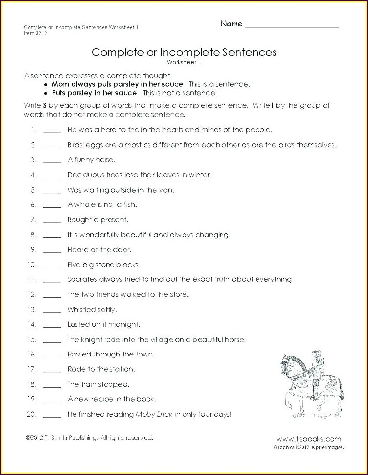 Writing Complete Sentences Worksheets High School