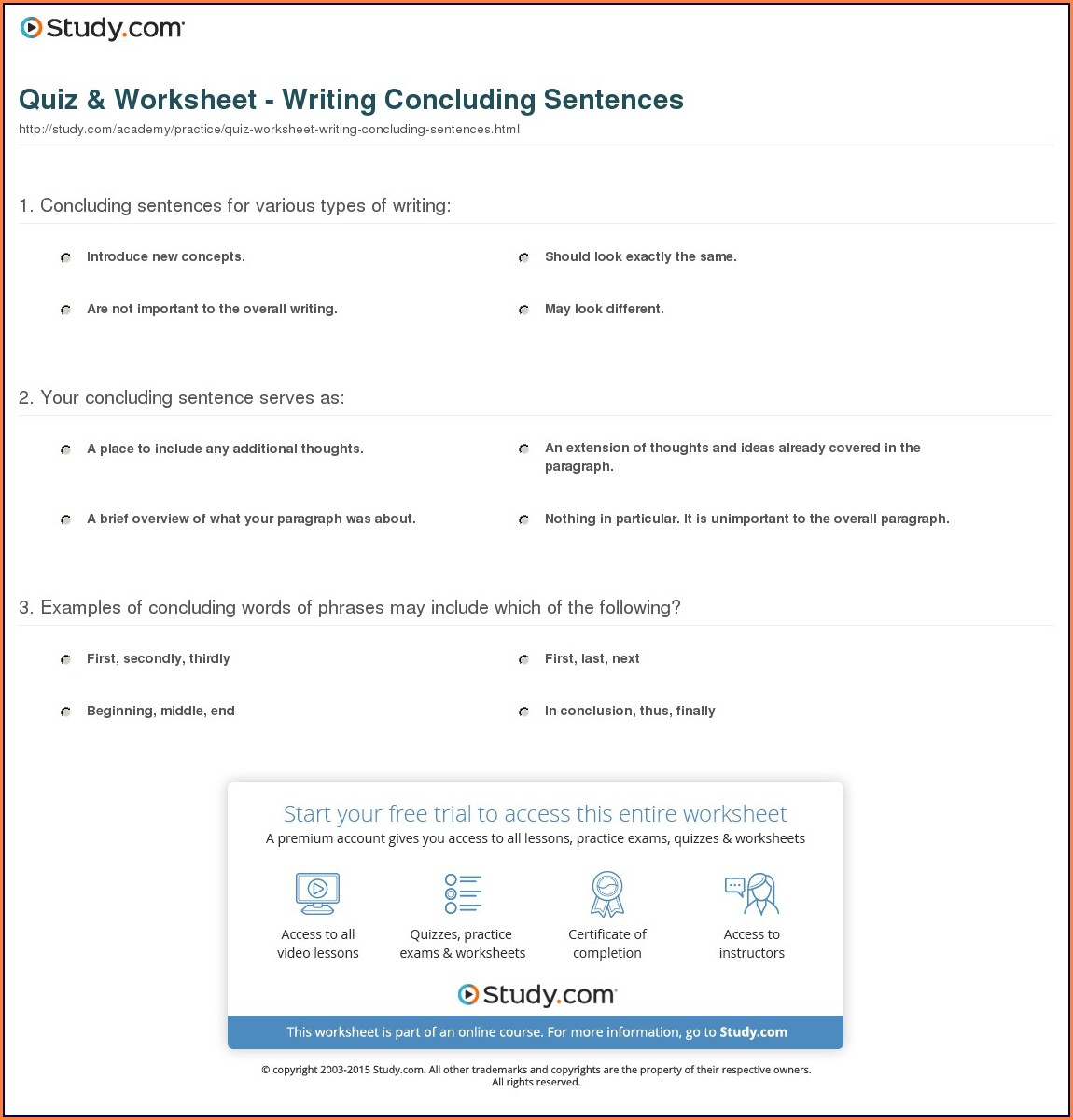 Writing Concluding Sentences Worksheet