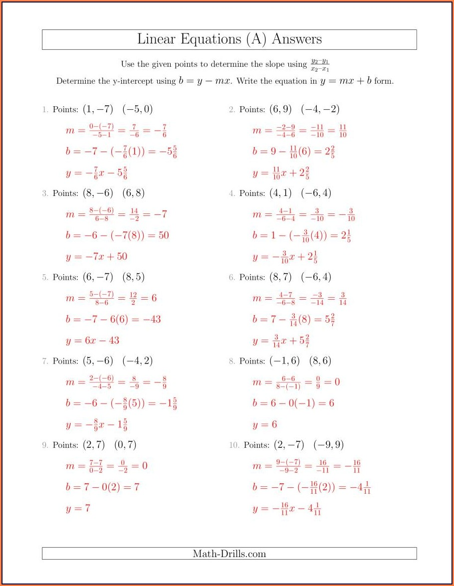 Writing Equations In Slope Intercept Form Worksheet Answer Key