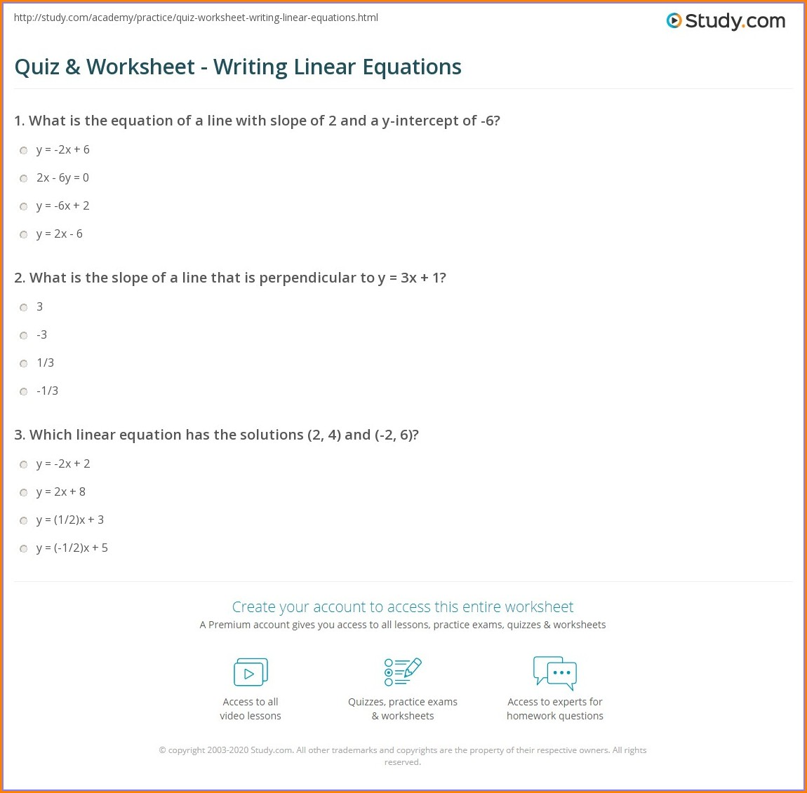 Writing Equations Worksheet With Answers