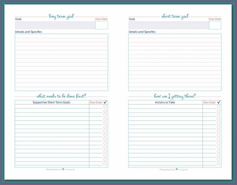 Writing Goal Setting Worksheet