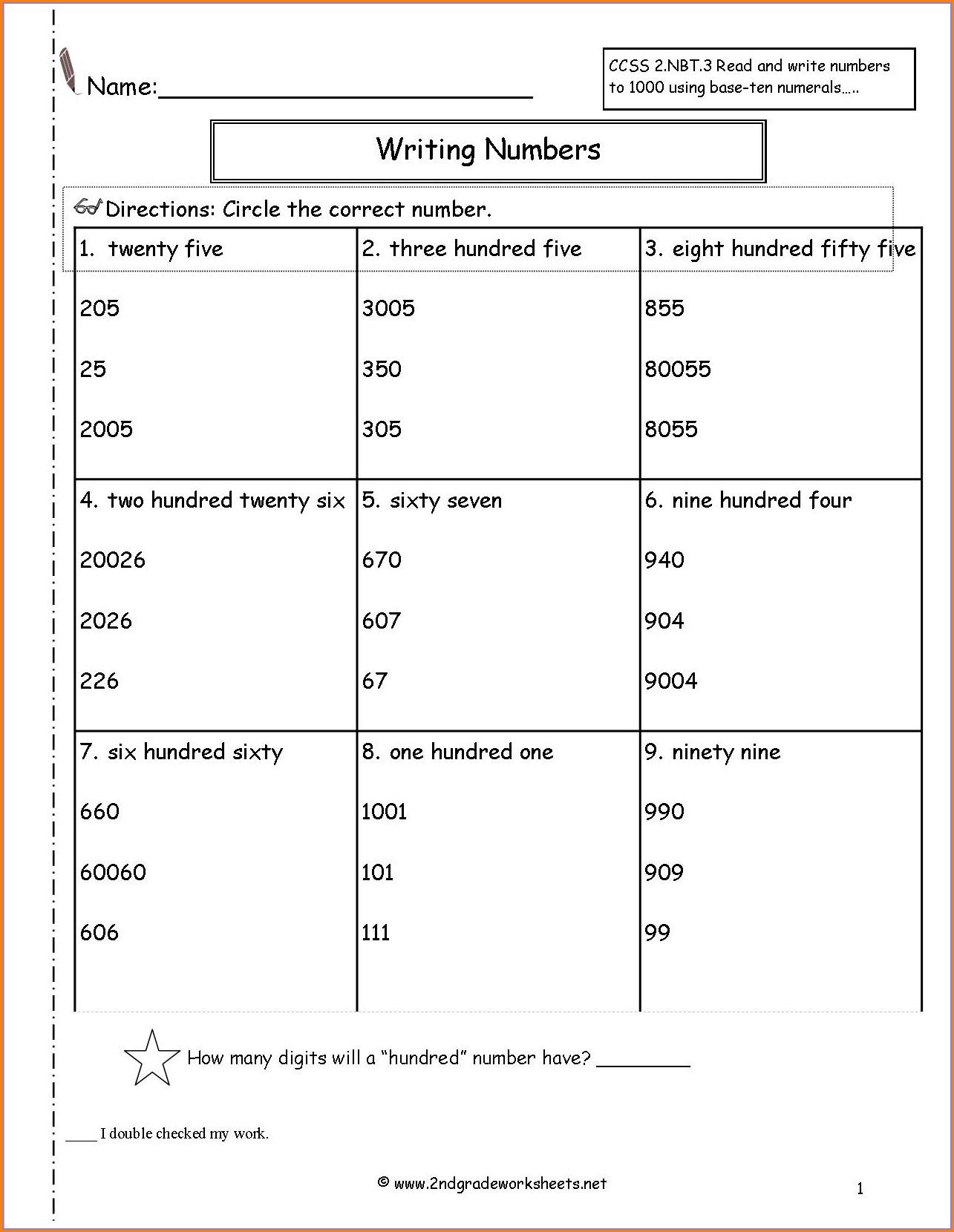 Writing Numbers Hundreds Worksheet