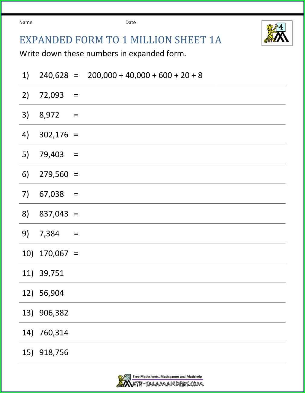 Writing Numbers In Digits Worksheets