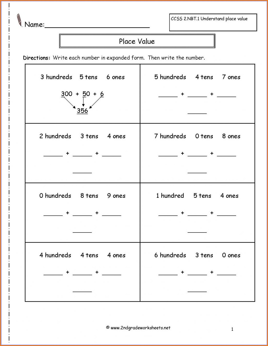 Writing Numbers Worksheets 2nd Grade