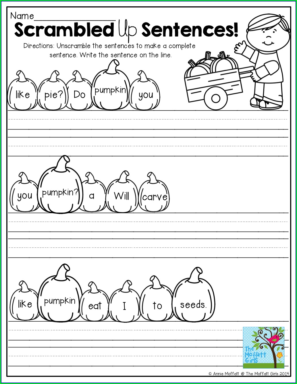 Writing Sentences Worksheet Kindergarten