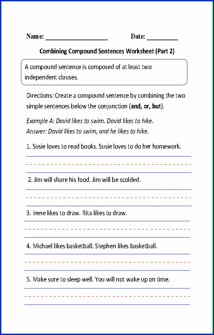 Writing Sentences Worksheets For 1st Grade Pdf