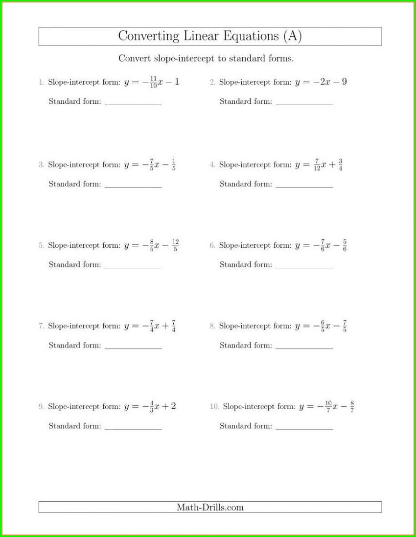 Writing Slope Intercept Form Worksheet Pdf
