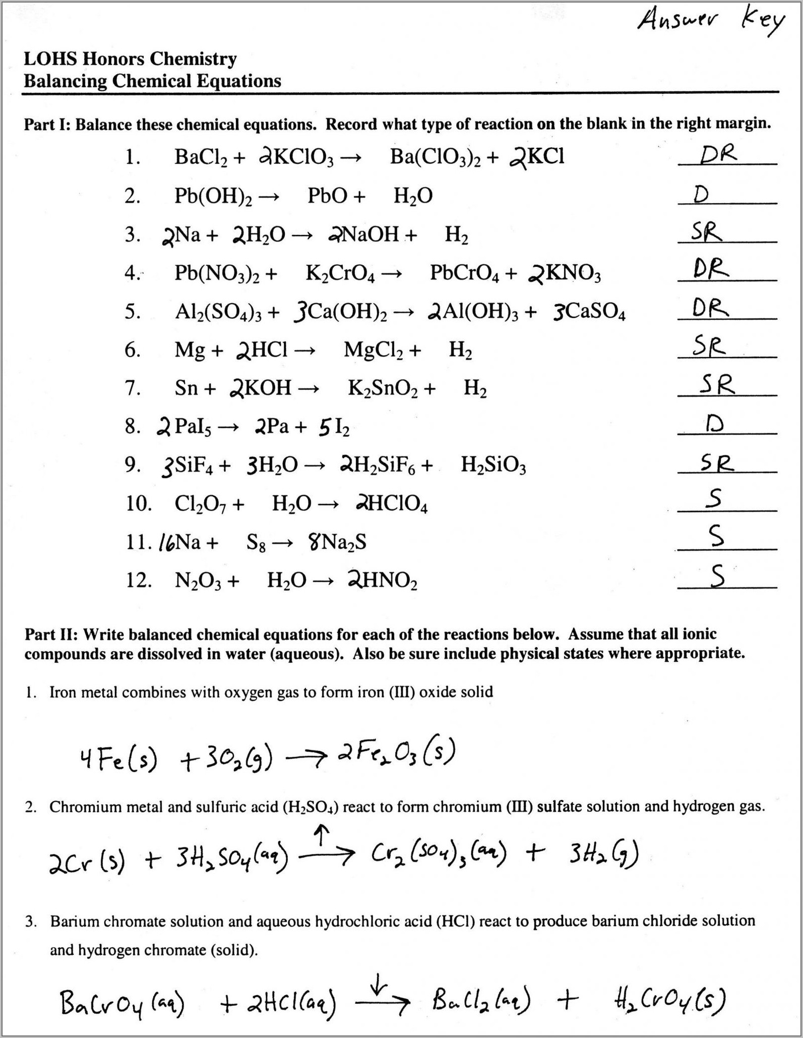 Writing Word Equations Chemistry Worksheet Answers