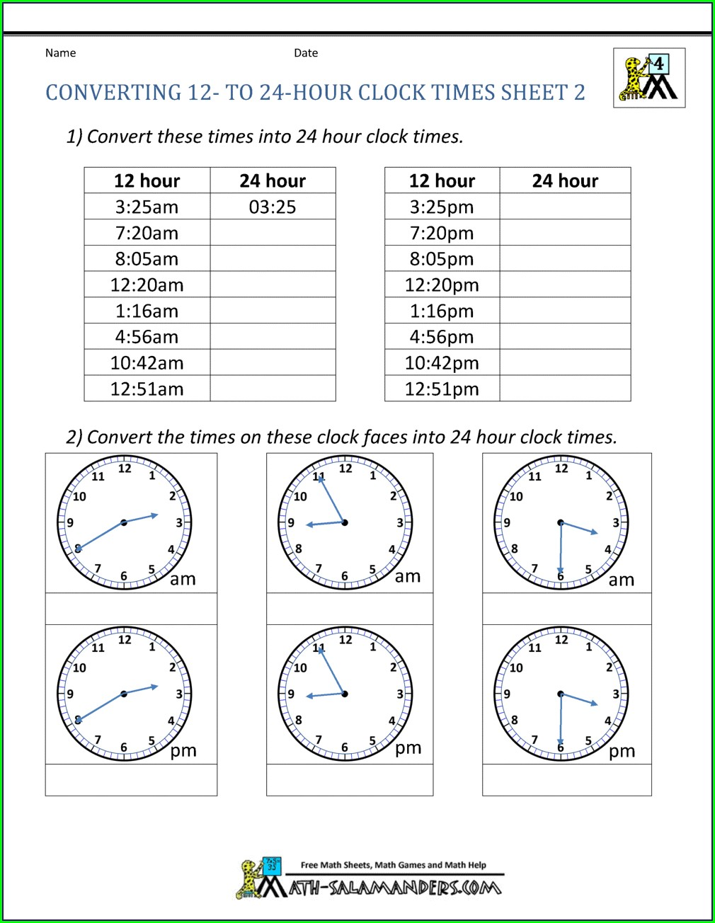 Year 2 Fractions Worksheet