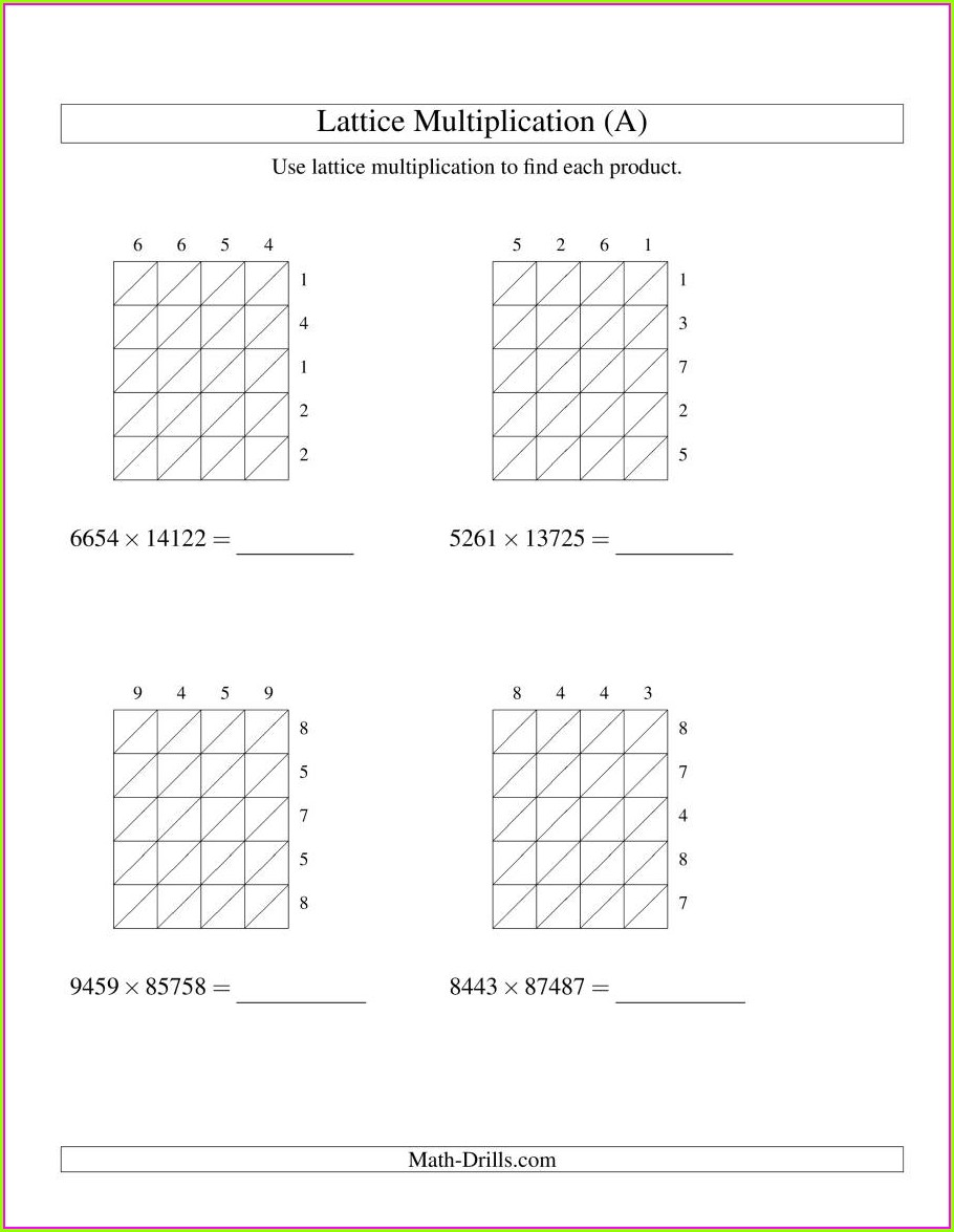 Year 3 Grid Method Multiplication Worksheet