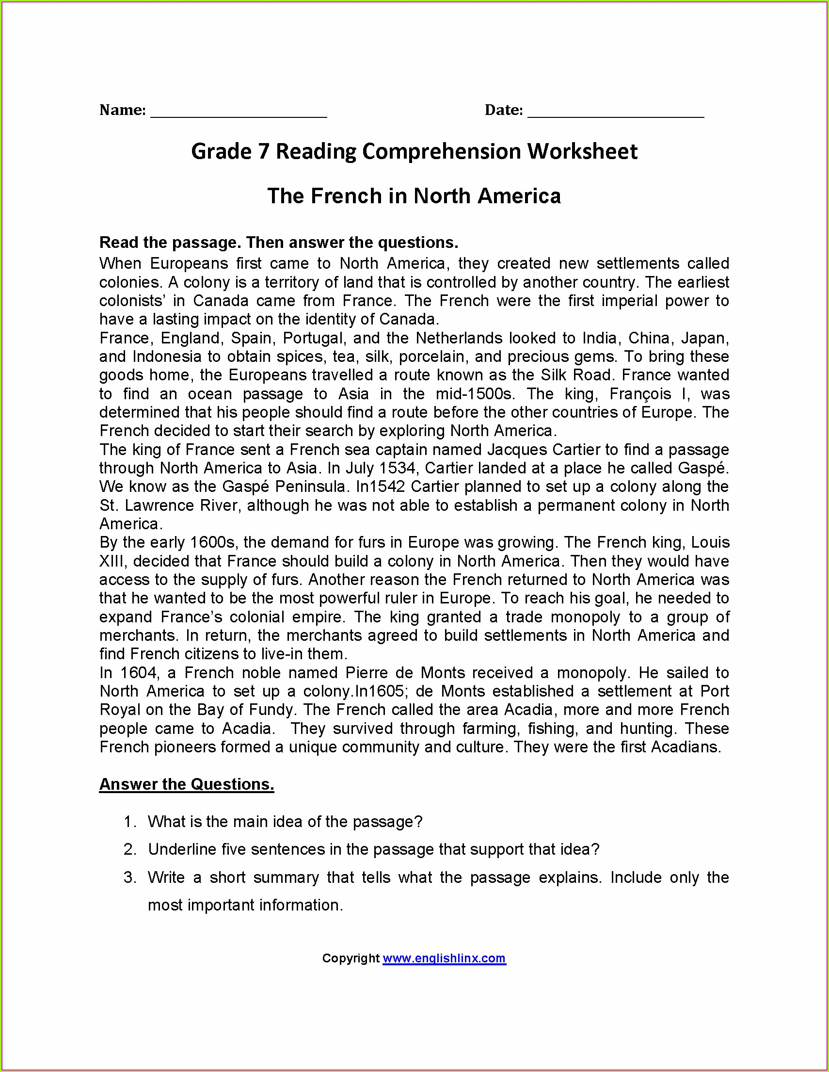 Year 7 English Comprehension Worksheets