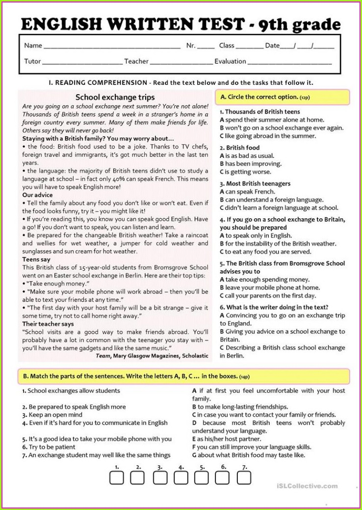 Year 7 English Worksheets Free