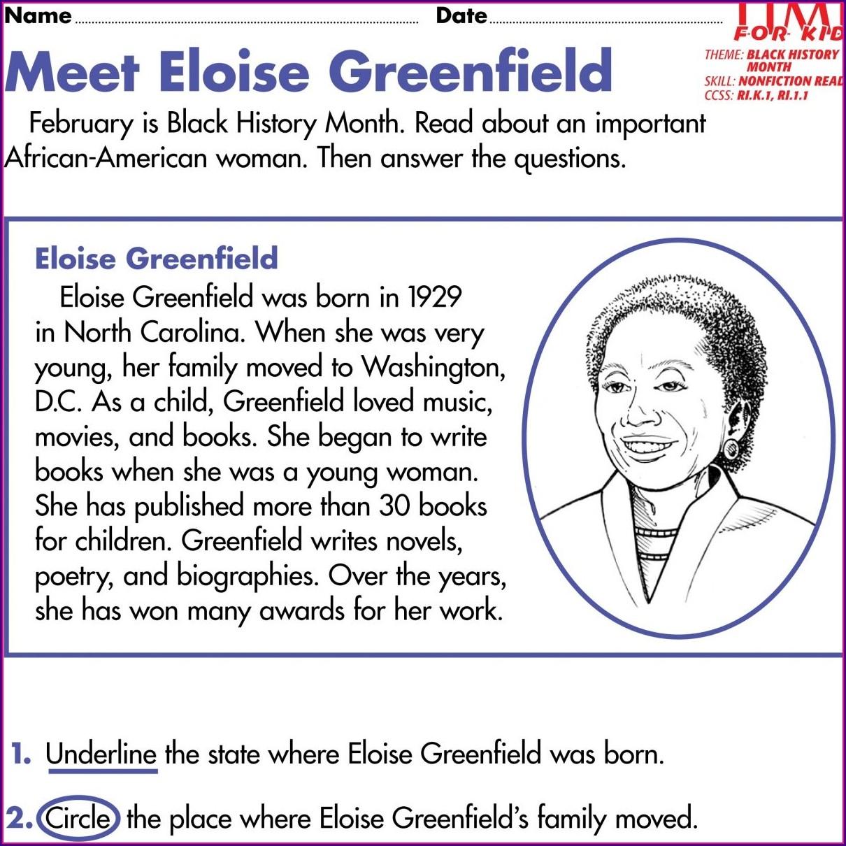 1st Grade Black History Month Worksheets
