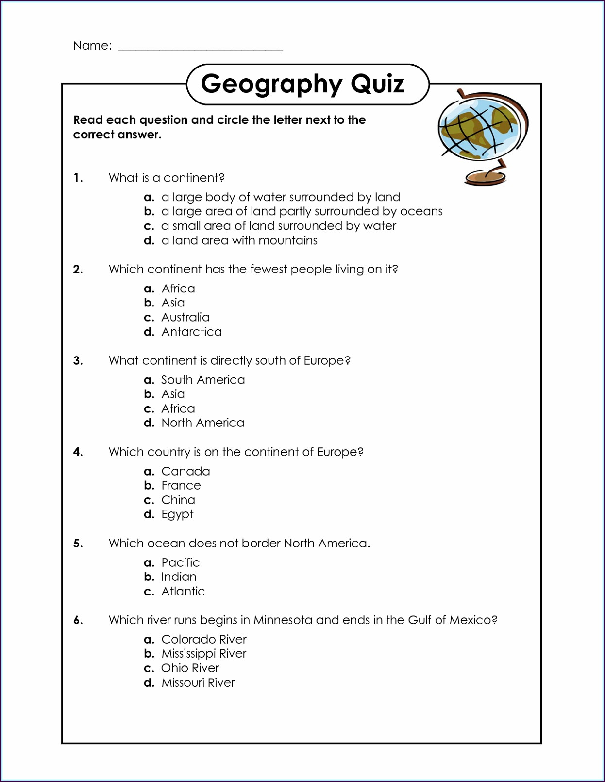1st Grade First Grade Geography Worksheets