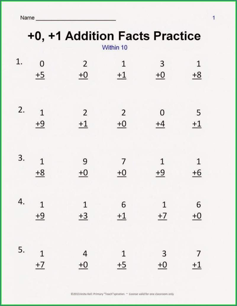1st Grade Math Worksheet Addition And Subtraction