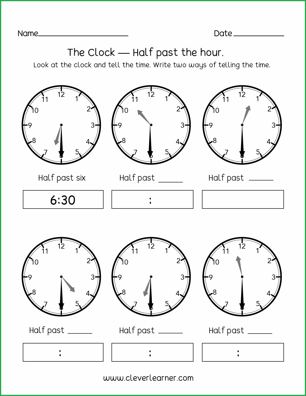 1st Grade Telling Time To The Half Hour Worksheets