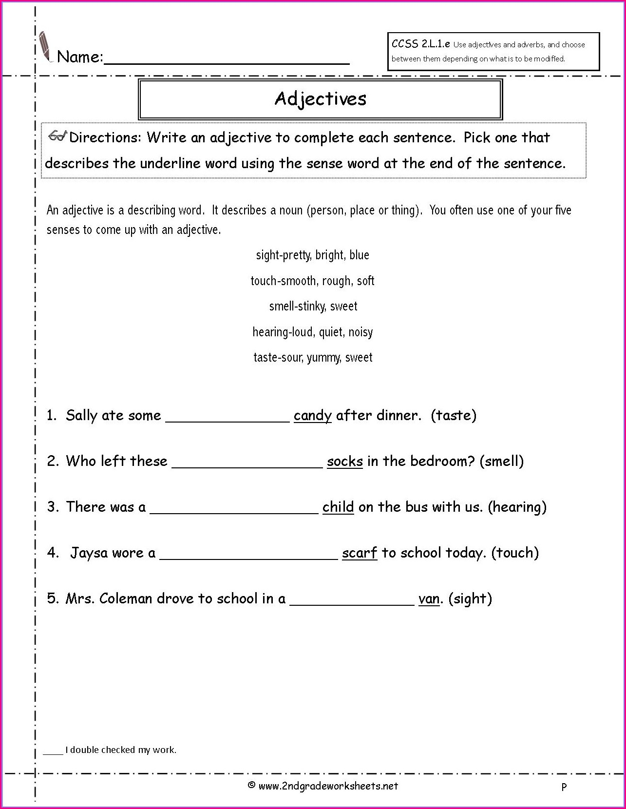 1st Grade Worksheet On Adjectives