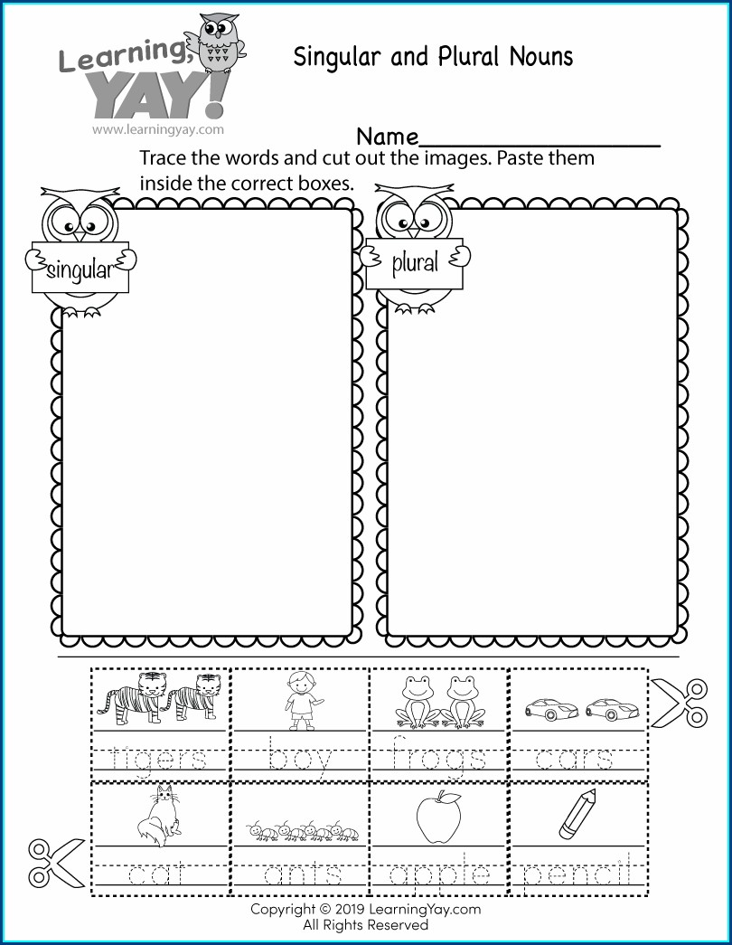 1st Standard English Worksheet