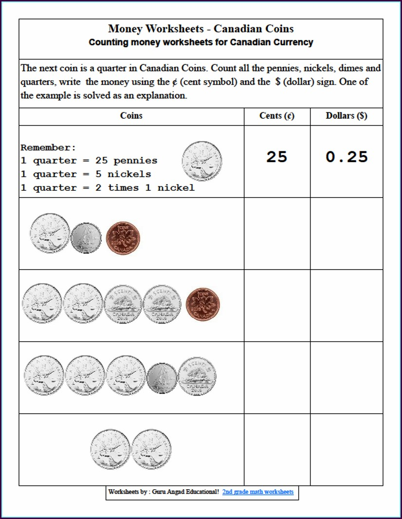 2 Grade Math Worksheets With Money