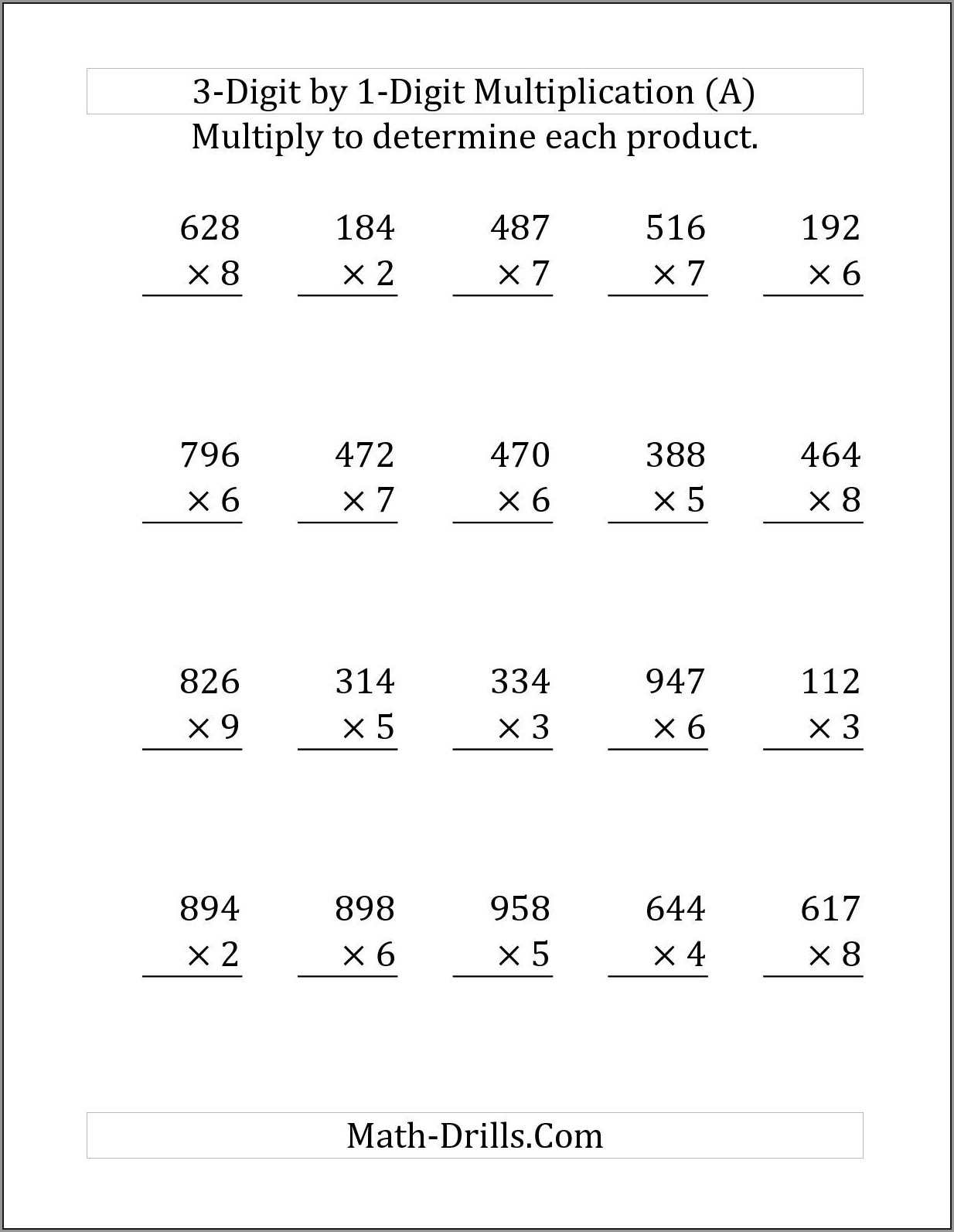2 Times 2 Digit Multiplication Worksheet