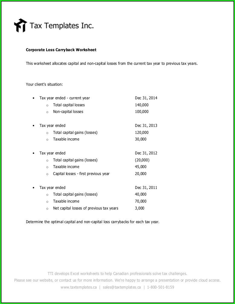2014 Capital Gains Carryover Worksheet