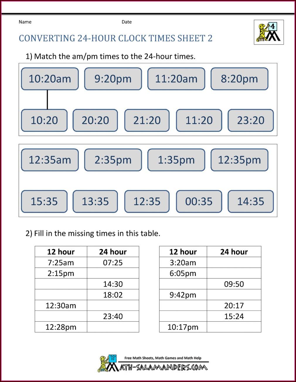 24 Hour Timetable Worksheet