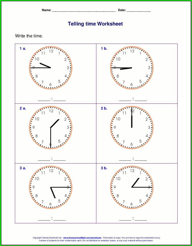 2nd Grade Clock Learning Worksheets