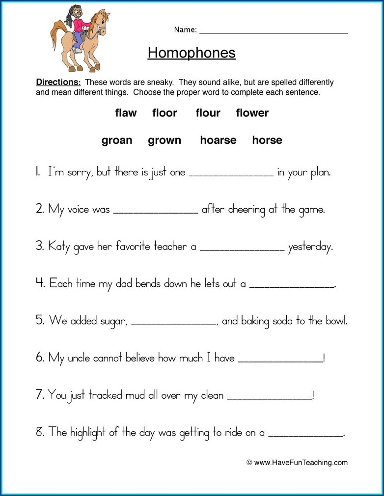 2nd Grade Common Homophones Worksheet
