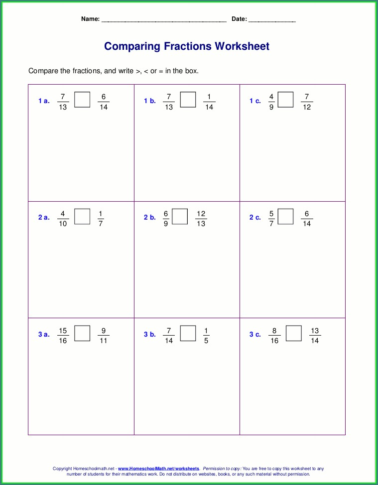 2nd Grade Comparing Unit Fractions Worksheet