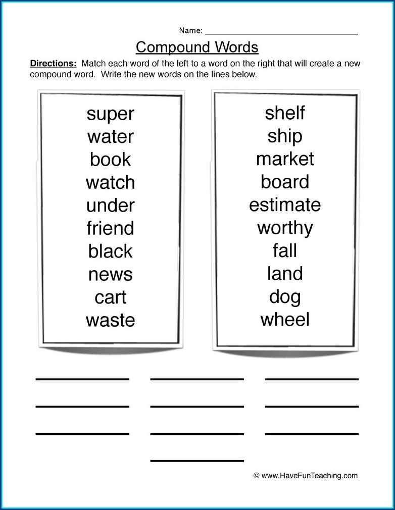 2nd Grade Compound Words Worksheet Grade 1